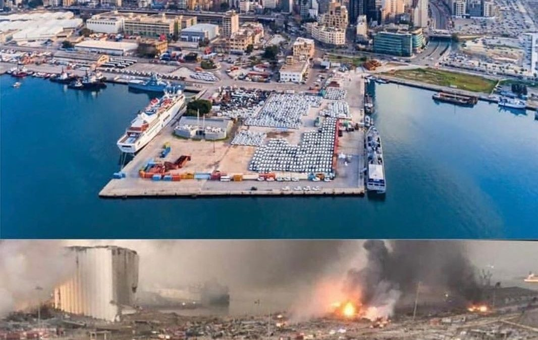 """NOW THE SOUND OF #BEIRUT IS SWEEPING GLASS, THE PIECES OF SHATTERED LIVES."""